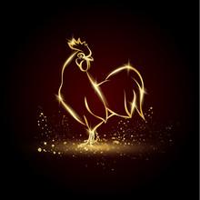 Golden Rooster On A Black Back...