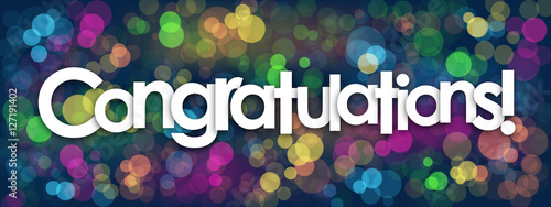 Stampa su Tela CONGRATULATIONS Card with colourful bokeh lights background