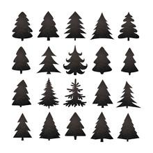 Christmas Tree Silhouette Design Vector Set.