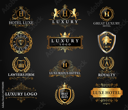 Photographie  Great Luxury Set, Royal and Elegant Logo Vector Design