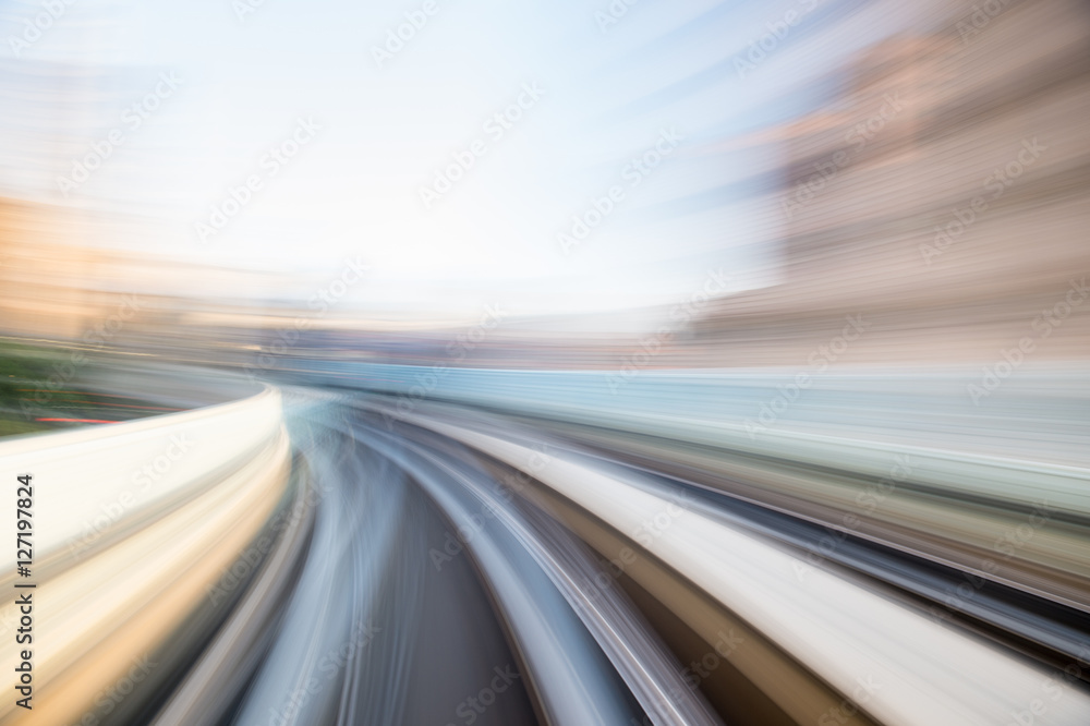 Fototapety, obrazy: Speed motion in urban highway road tunnel