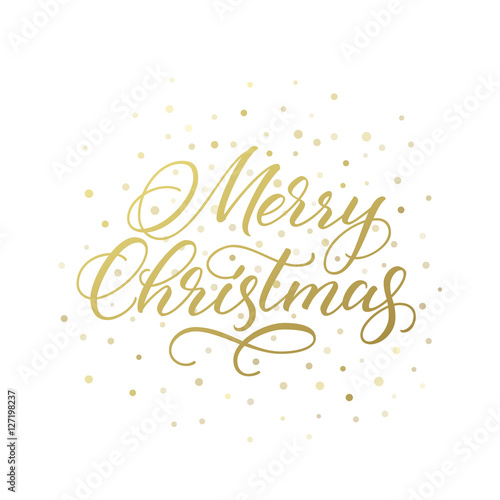 Fotografie, Obraz  Merry Christmas calligraphic greeting card