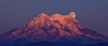 Moonrise  At Sunset Over Mt Rainier