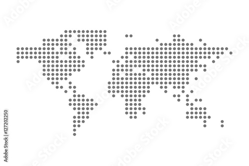 Türaufkleber Weltkarte Grey Political World Map Vector isolated Illustration
