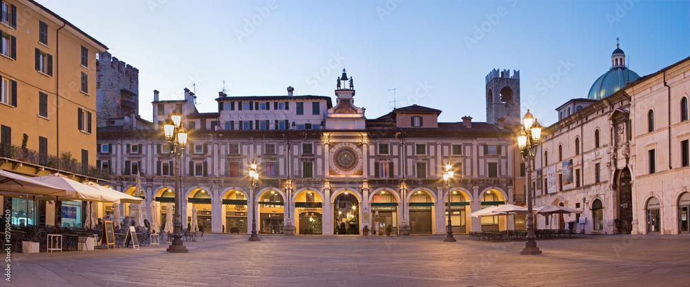 Fototapety, obrazy: BRESCIA, ITALY - MAY 20, 2016: The panorama of Piazza della Loggia square at dusk.