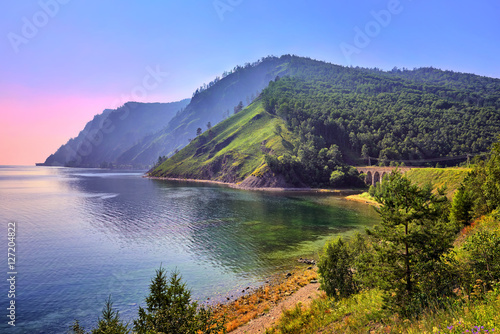 Baikal landscape with an old railway bridge Canvas Print