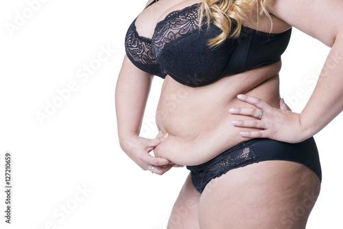 Fotografia, Obraz  Plus size model in black lingerie, overweight female body, fat woman with flabby