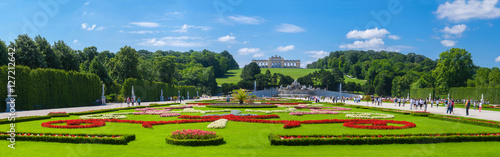 In de dag Wenen The palace and park ensemble of architectural Schönbrunn, Vienna, Austria