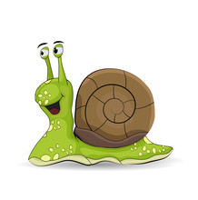 Cute Cartoon Green Snail Isolated On White Background