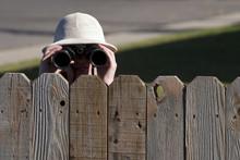 Spying Over Fence With Binoculars