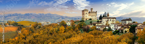 Aluminium Prints Dark grey Castello di Grinzane and village - one of the most famous vine regions of Italy