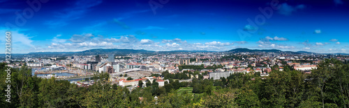 Photo  Wide panorama of  Oslo city background