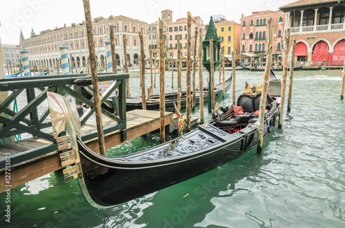 Venice gondola, anchored