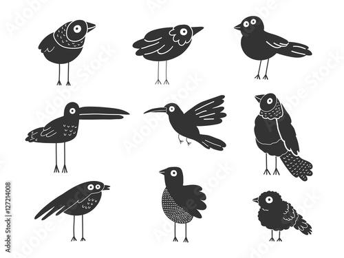 Birds silhouettes set, vector illustration Canvas Print
