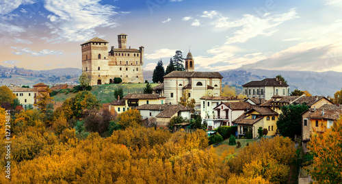 Castello di Grinzane and village - one of the most famous vine route of Chianti Wallpaper Mural