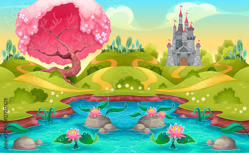 Staande foto Kinderkamer Fantasy landscape with castle in the countryside
