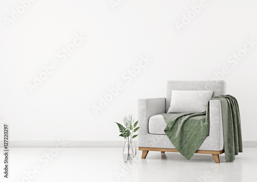 Interior with armchair, plants and plaid on empty white wall background. 3D rendering.