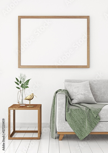 Horizontal interior poster mock-up with empty wooden frame and ...