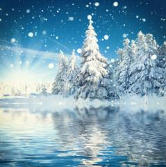 Fototapetazauberhafter Winterwald, Winterlandschaft mit See
