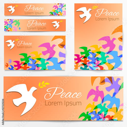 colorful doves silhouettes white dove olive branch symbol of peace