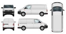 Car Vector Template. Cargo Minivan Isolated On White Background. All Elements In Groups On Separate Layers. The Ability To Easily Change The Color.
