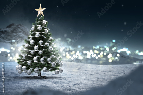 Fotografie, Obraz  Weihnachtsbaum in Schneelandschaft