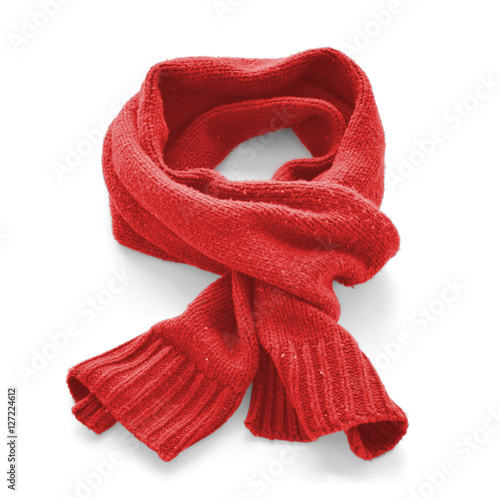 Fotografie, Obraz  Red warm scarf on a white background