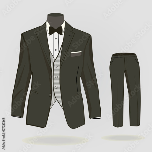 Fotografie, Obraz  Formal suit, tuxedo with formal trousers for men