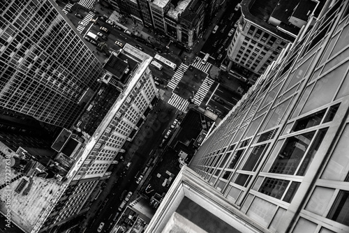 Top view from the skyscraper to city street in Manhattan Midtown in New York Cit Canvas Print