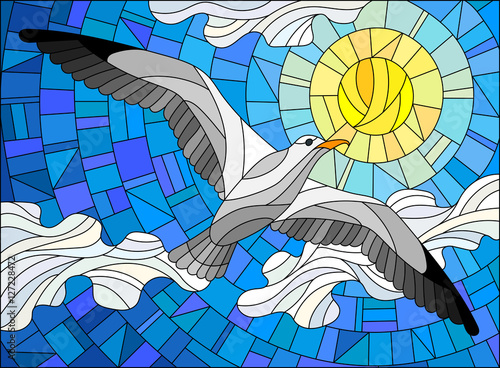 Fotografia, Obraz  Illustration in stained glass style Seagull on the background of sky, sun and cl