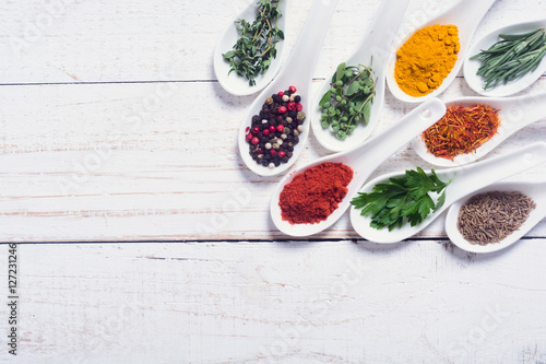 Canvas Prints Spices assortment of indian spices and herbs
