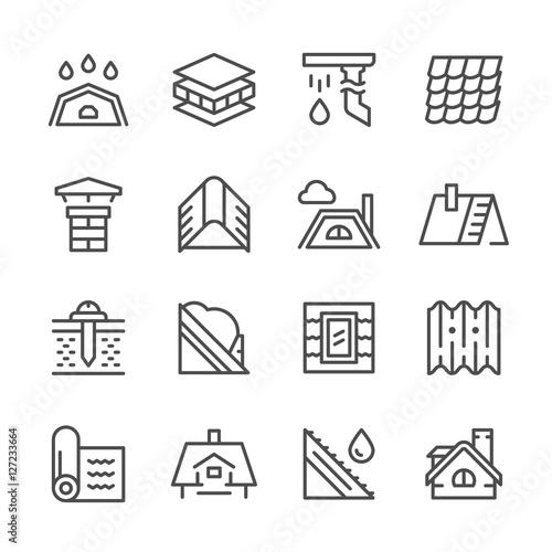Set line icons of roof Fototapete