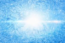 Bright Sun Shines Through Frozen Window