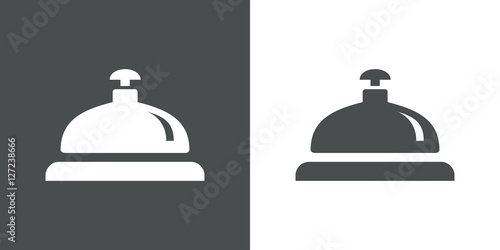 Foto  Icono plano timbre recepcion hotel gris y blanco