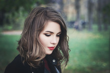 Lovely Girl In The Park. Prett...