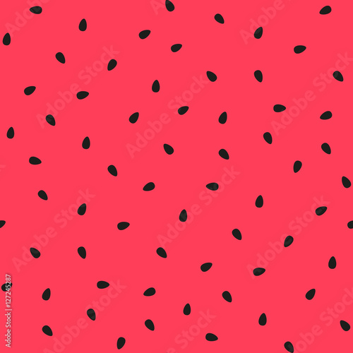 Vector watermelon background with black seeds.