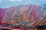 Fototapeta Rainbow - Rainbow mountains, Zhangye Danxia geopark, China