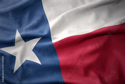 La pose en embrasure Texas waving colorful flag of texas state.