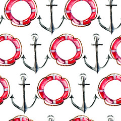 Fototapeta Marynistyczny Seamless wallpaper with Life buoy and anchor
