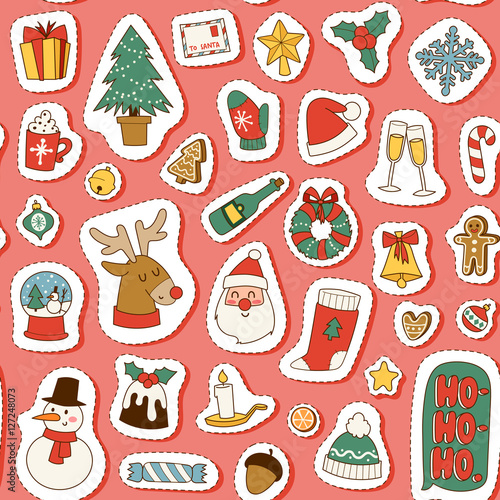 Cotton fabric Christmas symbols vector pattern.