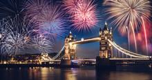Tower Bridge With Firework, New Year In London, UK