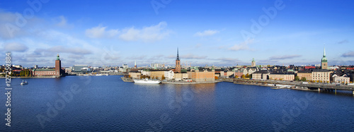 Deurstickers Noord Europa Panorama of Stockholm, Sweden