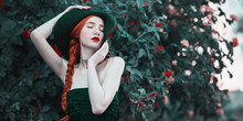 The Red-haired Girl In A Long ...