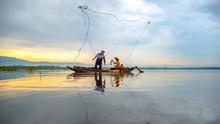 Fisherman Of Bangpra Lake In A...