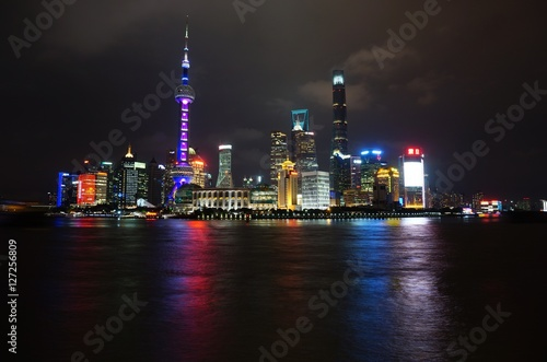 Photo  Night view of the Shanghai skyline