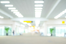 Blurred Airport Terminal With Bokeh Light Background