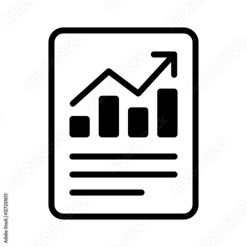 One Line Artist Statement : Financial report or income statement line art icon for