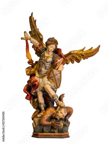Fotografia 18th century Saint Michael Archangel statue created in the Baroque art style iso