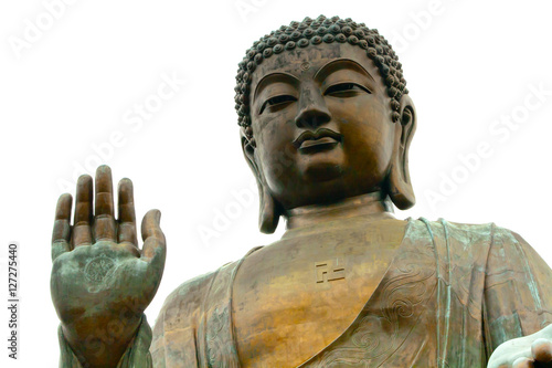 Photo  Big Buddha closeup statue, Hong Kong isolated on white background