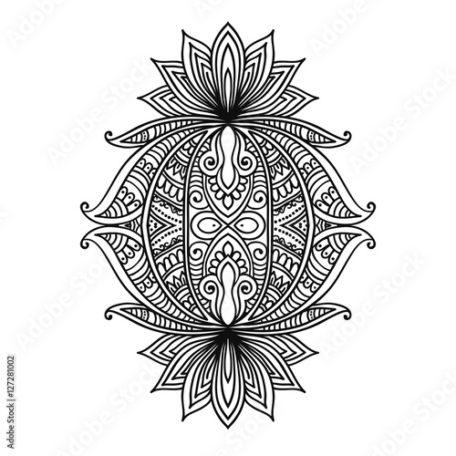 Vector Ornamental Lotus Flower Ethnic Artindian Paisley Isolated